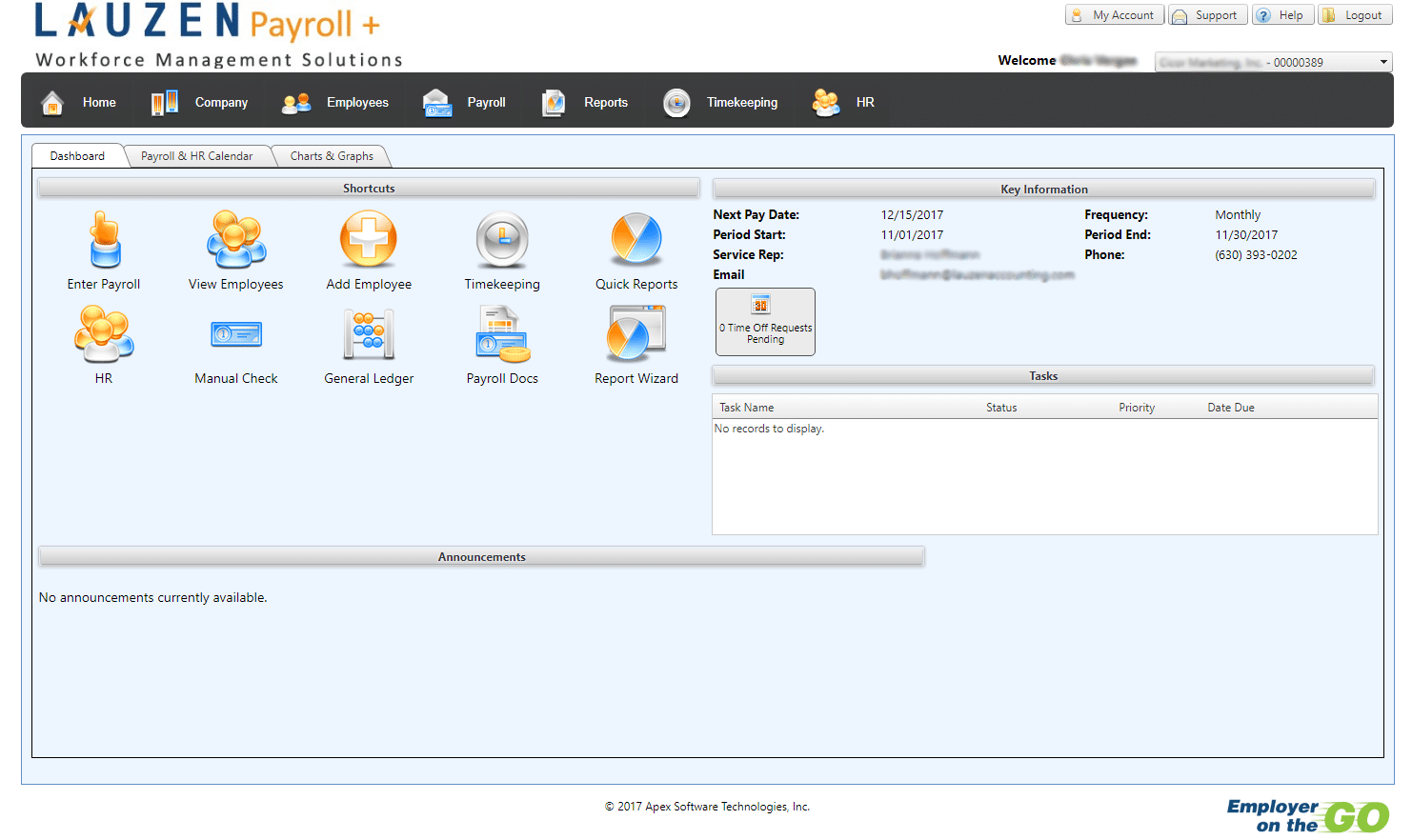Lauzen Payroll - EOG Main Screen - Employer